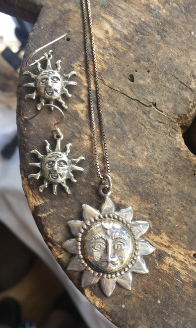 "Vintage Sterling Cheryl Wadsworth Hopi Stylized Sun Necklace Earrings Set 18"""
