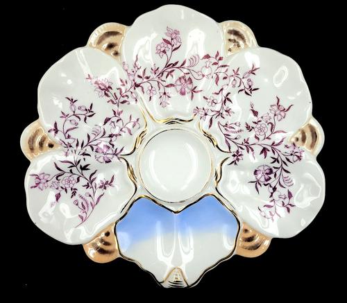 Antique Oyster Plate Wilhelm & Graef Hand-Ptd Purple Flower Luster Scallop 1850s