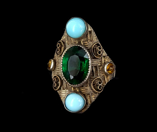 Sterling Large Faceted Green Tourmaline Turquoise Citrine Glass Paste Ring Sz 4