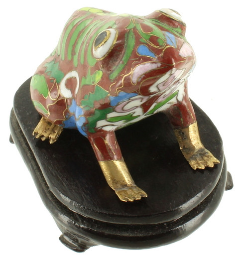 Vintage Chinese Cloisonne Enamel Frog Brass Figural with Wooden Stand