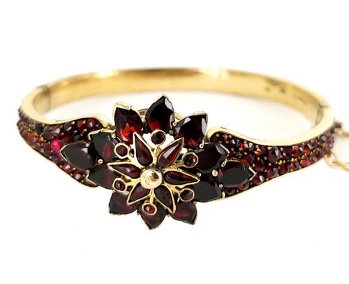 "Antique Victorian Gold Filled Bohemian Garnet Stunning Bangle Bracelet 6.25"""