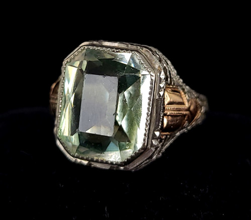 Antique Deco 14k White Gold Filled Filigree Green Aqua Paste Stunning ring s 7.5