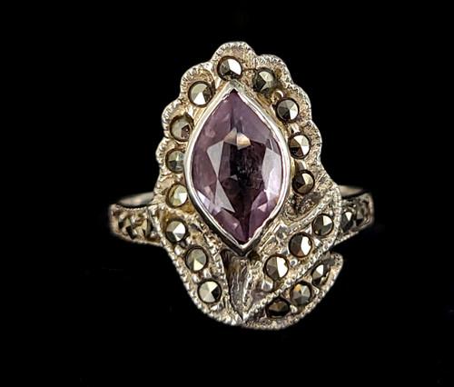 Vintage Deco Sterling Silver Rose De France Amethyst Marcasite Ring size 7.5