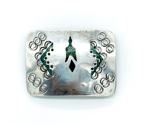 Vintage Navajo Old Pawn Sterling Silver Inlay Turquoise Coral Bird belt Buckle