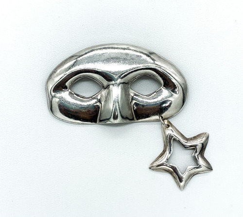 Vintage Taxco Sterling Silver Theatre Masquerade Ball Mask Pin Brooch