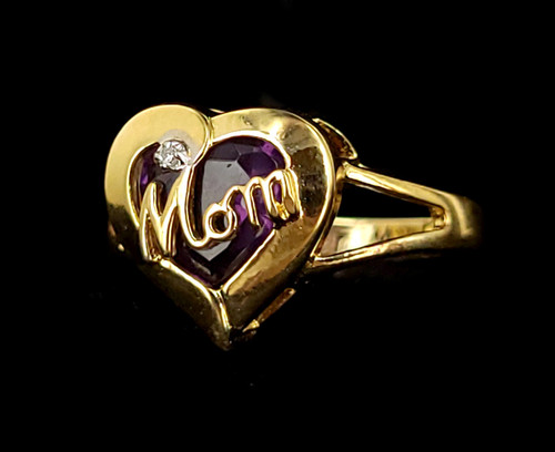 Vintage Mid Century Gold Over Sterling Diamond Mom Mothers Day Ring s 8.5
