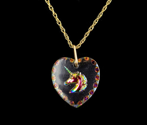 Vintage 14k Yellow Gold Filled Unicorn Glass Heart Double Sided Pendant Necklace