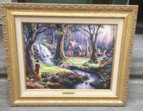 Thomas Kinkade Snow White Discovers the Cottage Gold Frame Authenticated 2009-1