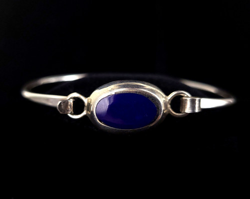 "Vintage Sterling Silver Inlaid Lapis Lazuli Bangle Bracelet 6"""
