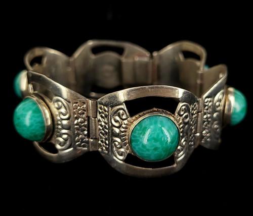 "Vintage Sterling Silver Mexico Deco Jade Peking Glass Link Bracelet 6.5"""
