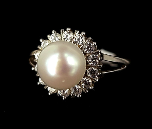 Vintage Sterling Silver Bella Luce Cultured Pearl Cubic Zirconia CZ Ring sz 8
