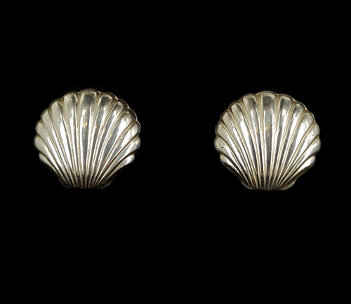 """Vintage Mid Century Sterling Silver Seashell Light Weight Post Back Earrings .75"""""""