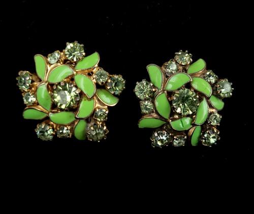 "Vintage Weiss Gold Tone Green Enamel Rhinestone Floral Clip Back Earrings 1"""