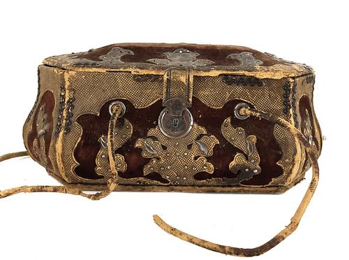 Antique French Sewing Casket Box Coffret 1790's Cut Steel Fleur de Lis Mirror