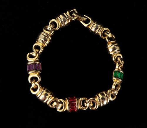 "Vintage Gold Tone Green Red Purple Paste Rhinestone Link Bracelet 7"""