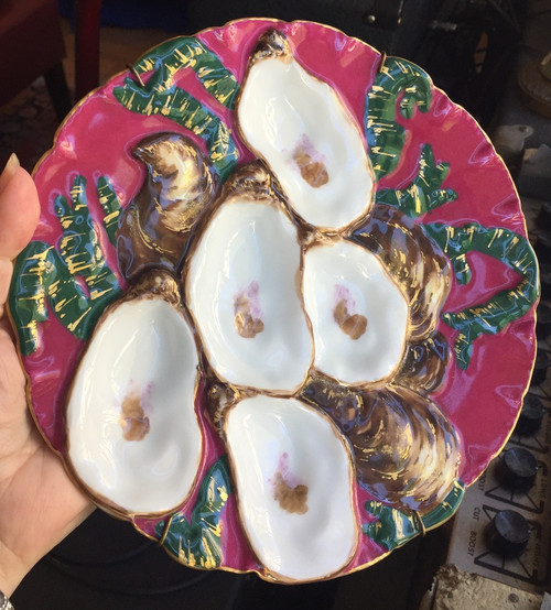 Antique Haviland Limoges France Turkey Oyster Plate Fuschia Hand Painted 1876