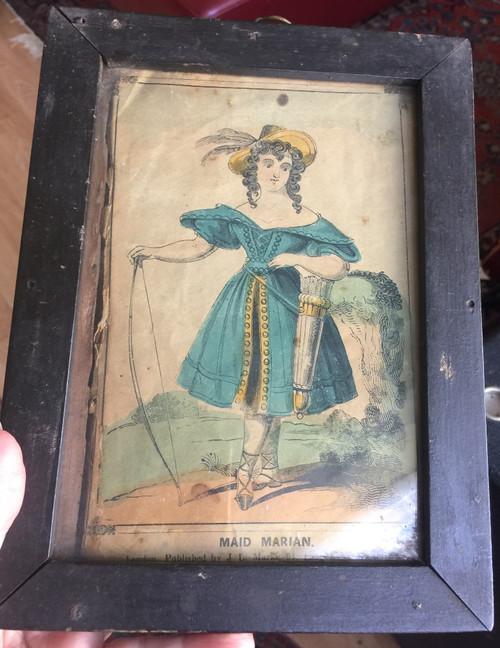 Antique  Robin Hood Maid Marian 1830's Georgian Engraving Print Theater Fashion