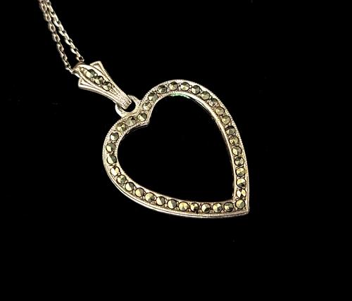 "Vintage Mid Century Sterling Silver Heart Marcasite B&K Pendant Necklace 17.5"""
