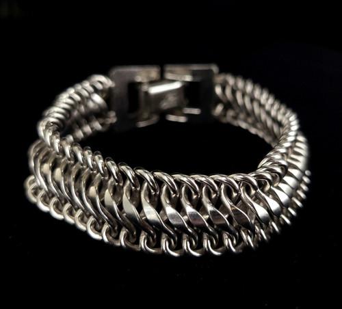 "Vintage Silver Toned Coro Pegasus Thick Link 1950s Bracelet 7"""