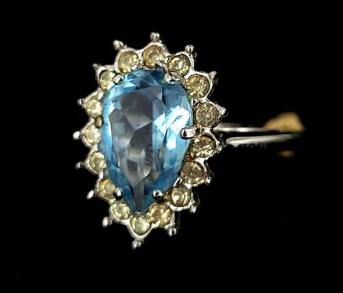 Vintage Mid Century Cellini Blue Clear Rhinestone Paste Ring sz 7 NWT