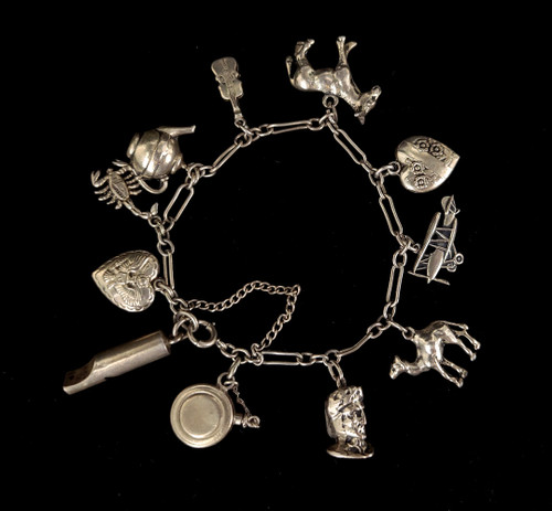 "Antique Sterling Silver Musical Animal Charm Henry Williamson Bracelet 6.5"""