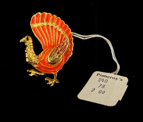 "Vintage Gold Tone Orange Enamel Turkey Fall Autumn Rhinestone Pin Brooch 1.5"""