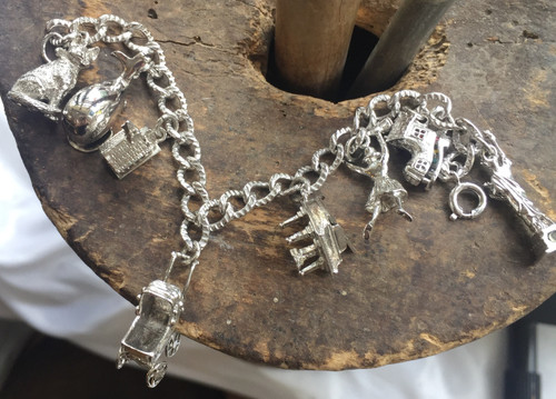 Vintage Cellini Sterling 8 Big Moveable Charm Bracelet Piano Boot Carriage 7.25