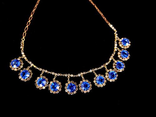 "Antique Deco Sapphire Diamond Paste Rhinestone Drop Dangle Necklace 14"""