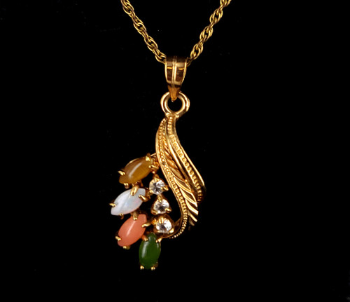 "Vintage Gold Filled GF Opal Jade Coral Tigers Eye Floral Pendant Necklace 15"""