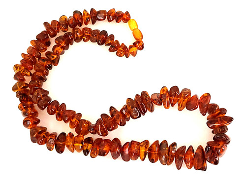 """Vintage Russian Baltic Amber Cognac 10mm-20mm Nugget Bead 64.2g Necklace 24.5"""""""