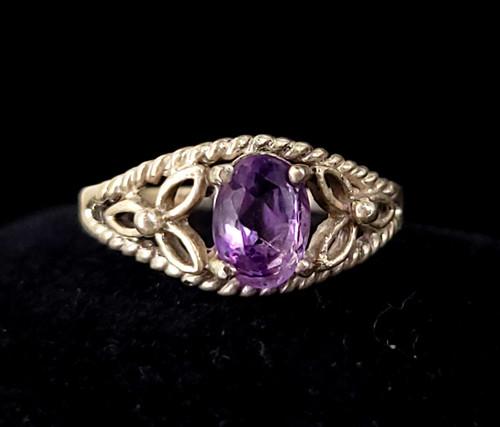 Vintage Sterling Silver Purple Faceted Amethyst Filigree Floral Ring sz 5