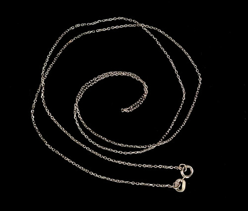 """Vintage 10k White Gold Beautiful Delicate Minimalist Cable Chain Necklace 21"""""""