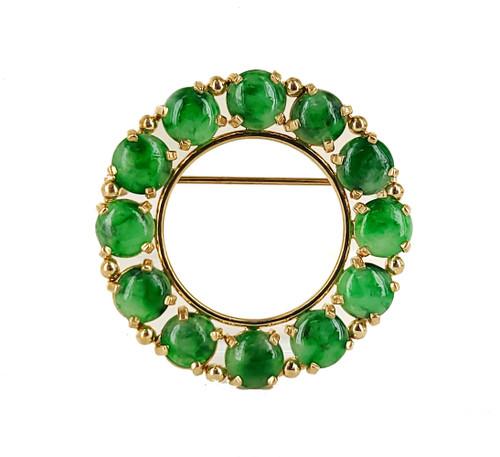 """Vintage 14k gold White Green Natural Apple Jadeite Jade Round Wreath Pin Brooch 1.3"""""""