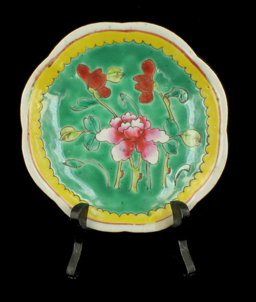 """Antique Chinese Famille Verte Rose Pink Peony Green Yellow 19th C. Plate 6"""" W"""