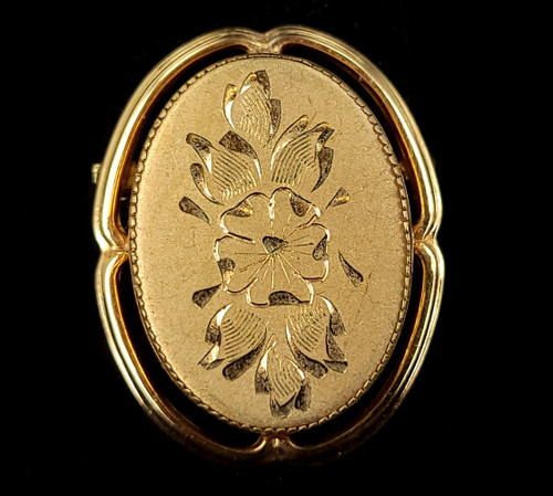 """Antique Catamore 12k Gold Filled GF Victorian Floral Etched Oval Pin Brooch 1.25"""""""