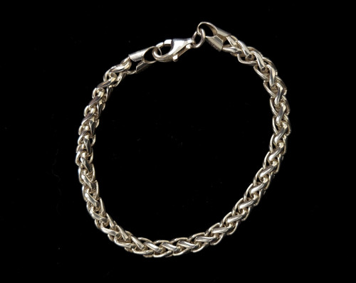 """Vintage Sterling Silver Italian Thick Woven Design Chain Bracelet 7.5"""""""