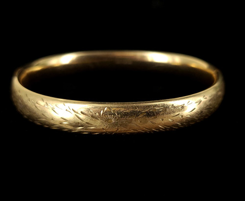 """Antique 12K GF Gold Filled Victorian Floral Etched Engraved Bangle Bracelet 7"""" A"""