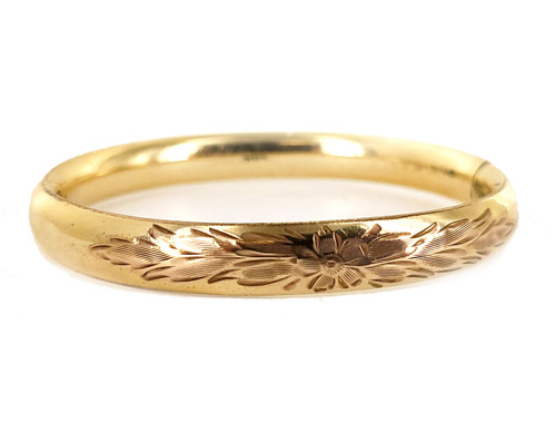 """Antique 12K GF Gold Filled Victorian Floral Etched Engraved Bangle Bracelet 7"""" C"""