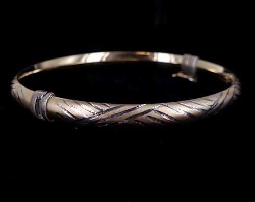 """Vintage 14k over Silver Yellow Gold Filled Etched Bangle Bracelet 7.5"""" D"""