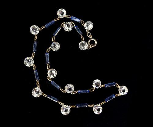 "Antique Deco Sapphire Diamond Paste Rhinestone Drop Dangle Necklace 16"""