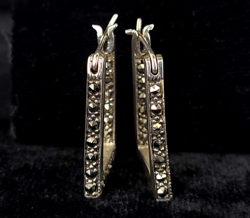 "Vintage Art Deco Sterling Silver Marcasite Geometric Lever Post Back Earrings 1"""