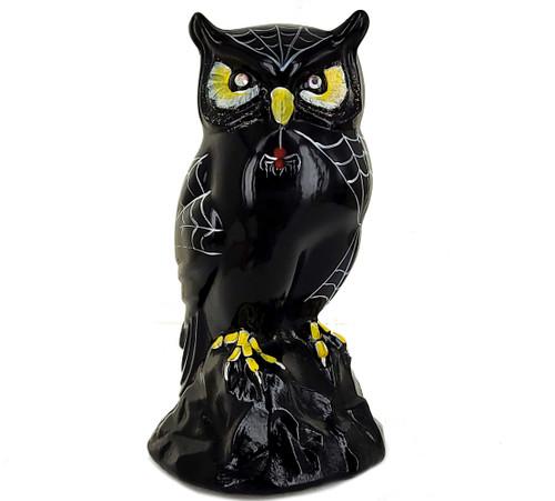 "Vintage Fenton Halloween Black Glass Hand Painted Owl Figurine Statue 5.5 ""H"