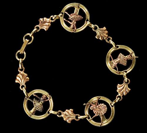 """Vintage 10k Yellow Rose GF Gold Filled Ballerina Dancer Link Bracelet 8"""""""