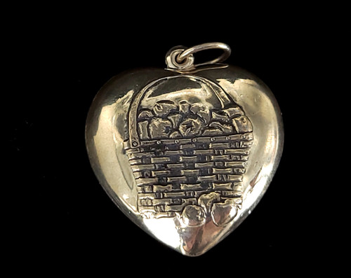 """Antique Sterling Silver Large Puffy Heart with Fruit Basket Charm Pendant 1"""""""