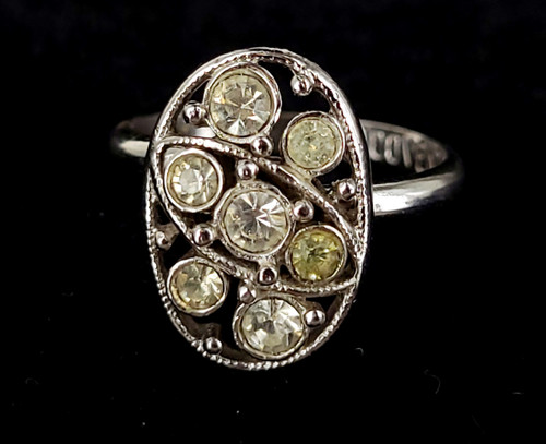 Vintage Silver Tone Sarah Coventry Rhinestone Paste Adjustable Ring