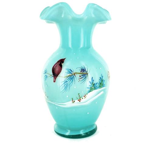 "Vintage Fenton Art Glass 1985 Hand Ptd Winter Cardinal Bird Blue Opalescent Vase 8.5"""