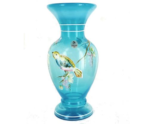 "Vintage Fenton 1985-HP Tropical Bird On Grape Vine Opalescent Blue Vase 8.5"""