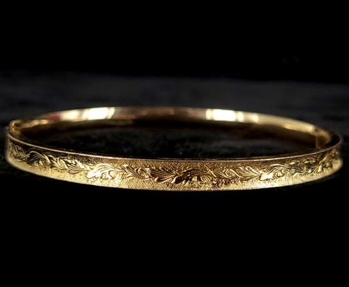 """Antique 12k GF Gold Filled Victorian Etched Engraved Bangle Bracelet 7"""""""