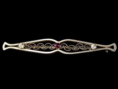 """Antique Art Nouveau Victorian Silver Clear Purple Paste Bar Pin Brooch 2.25"""""""