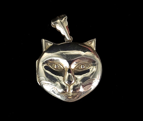 Vintage Sterling Silver Cat Kitty Detailed Cat Head Locket Pendant Necklace